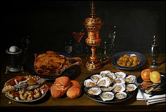 David Rijckaert II - Still life with a silver-gilt covered cup