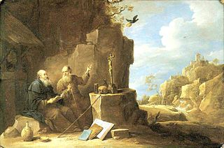 Saint Anthony abbot meets Saint Paul the hermit