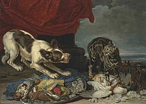 David de Coninck - A cat and a dog fighting over fowl
