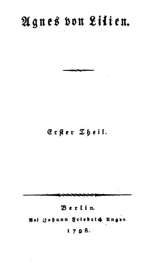 Caroline von Wolzogen - Title page of the 1798 edition of Agnes von Lilien