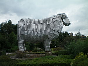 Dean Clough - An aluminium sheep by artist Frank Darnley overlooks the mills