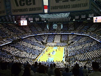 "Dean Smith Center - The Smith Center in 2014 prior to the first-ever ""Stripe-Out"" game held in the arena."