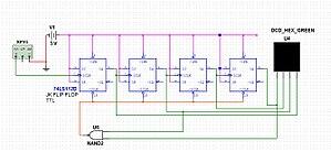 Counter (digital) - A circuit decade counter using JK Flip-flops (74LS112D) - erratum: Vcc=5V, not 12V on drawing