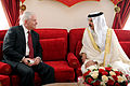 Defense.gov News Photo 110312-D-XH843-005 - Secretary of Defense Robert M. Gates meets with the King of Bahrain Hamad bin ISA al-Khalifa at Safriyah Palace in Bahrain on March 12, 2003.jpg