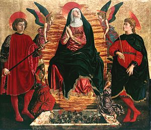 Assumption of the Virgin (Andrea del Castagno) - Image: Del Castagno Andrea Our Lady of the Assumption with Sts Miniato and Julian