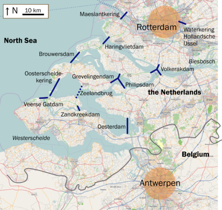 The Delta Works are located in the provinces of South Holland and Zeeland. Deltawerken na.png