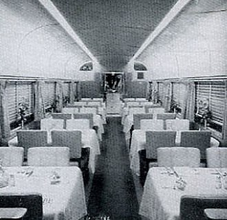 Denver Zephyr - Image: Denver Zephyr dining car 1940