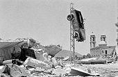 Ødelæggelse i den syriske by Kunaitra på Golanhøjderne