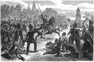 Battle of Halberstadt - An artist's impression of Duke Frederick William leading the storming of Halberstadt. Engraving by Hermann Lüders (1836–1908) published in 1870.