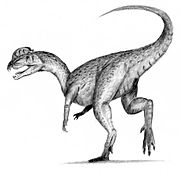 Dilophosaurus, one of the many extinct dinosaur genera. The cause of the Cretaceous–Tertiary extinction event is a subject of much debate amongst researchers.