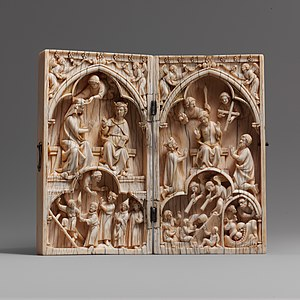 Diptych - Image: Diptych with the Coronation of the Virgin and the Last Judgment MET DP102832