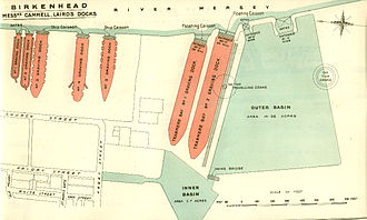 Cammell Laird - The layout of Cammell Laird's docks in 1909
