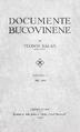 Documente bucovinene I, Deckblatt.png