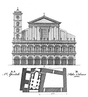 Santi Apostoli, Rome - Facade of the Basilica and plan