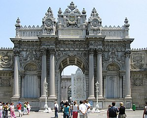 Abdulmejid I - Dolmabahçe Palace, the first European-style palace in Istanbul, was built by Abdulmejid between 1843 and 1856, at a cost of five million Ottoman gold pounds, the equivalent of 35 tons of gold.  Fourteen tons of gold was used to adorn the interior ceiling of the palace.  The world's largest Bohemian crystal chandelier, a gift from Queen Victoria, is in the centre hall.  The palace has the largest collection of Bohemian and Baccarat crystal chandeliers in the world, and even the staircases are made of Baccarat crystal.
