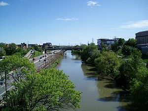 Don River (Ontario) - DVP and the Don River.