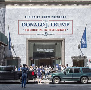 Donald Trump on social media - The Donald J. Trump Presidential Twitter Library, set up by The Daily Show in Manhattan in June 2017.
