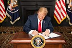 "President Donald J. Trump signs an Executive Order in Bedminster, New Jersey, entitled ""Reimposing Certain Sanctions with Respect to Iran."""