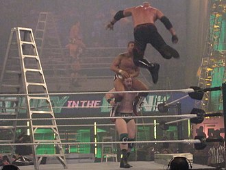 Doomsday device (wrestling) - Sheamus holds Daniel Bryan in position to receive a Doomsday clothesline from Kane.