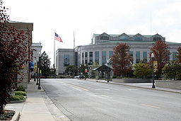 none Downtown Edwardsville with the Madison County Administration Building in the background