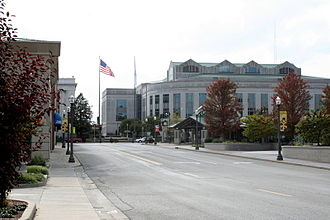 Edwardsville, Illinois - Downtown Edwardsville with the Madison County Administration Building in the background