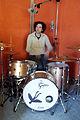 Drum mic setting in progress, Guy Sternberg, Marc Morgan album recording, 2011-01-22 12 18 32.jpg