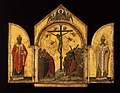 Duccio - The Crucifixion; the Redeemer with Angels; Saint Nicholas; Saint Gregory, 1311–18.jpg