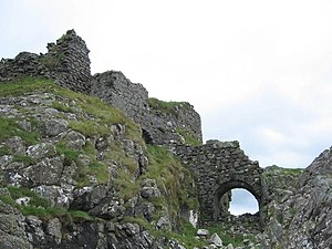 Dunscaith Castle - View from below.