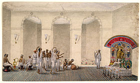 Durga Puja, 1809 watercolour painting in Patna Style