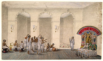 English: Durga Puja, 1809 watercolour painting...