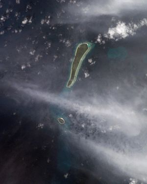 Eagle Islands - NASA picture of Eagle Islands. The round, smaller island is Île Vache Marine