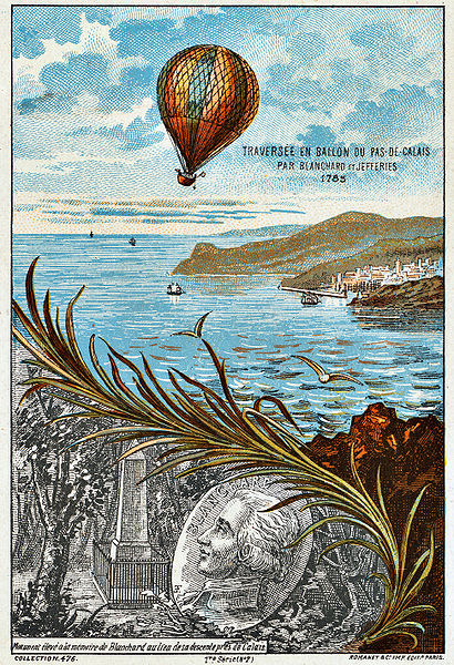 Crossing the English Channel bay ballon (contemporary depiction)