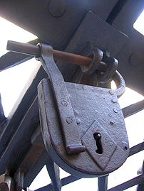 Early padlock style, on the front gates of St.