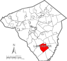Map of Lancaster County, Pennsylvania highlighting East Drumore Township