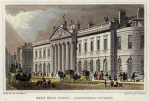 Richard Jupp - The expanded East India House, Leadenhall Street, London, as rebuilt 1799–1800, Richard Jupp, architect (as seen c. 1828; demolished in 1861-62)