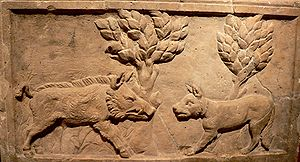 Bay dog - Roman relief, c. 3rd century of hunting wild boar with a bay dog.