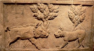 Hunting dog - Wild Boar and hunting dog on a roman relief