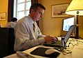 Ed Gillespie at work on the Mideast Trip Notes.jpg