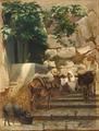 Edvard Petersen - En trappe i Italien med personer, æsler og en gris - 1880.png