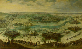 A siege of a city, thought to be the siege of Gulik by the Spanish under the command of Hendrik van den Bergh, 5 September 1621-3 February 1622