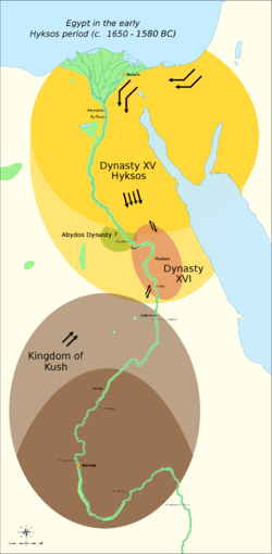 The political situation in the Second Intermediate Period of Egypt (c. 1650 — c. 1550 BC) Thebes was briefly conquered by the Hyksos c. 1580 BC