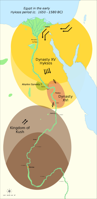 Sixteenth Dynasty of Egypt - The political situation in Egypt during the existence of the 16th Dynasty from c. 1650 until c. 1590 BC. Thebes was briefly conquered by the Hyksos c. 1580 BC.