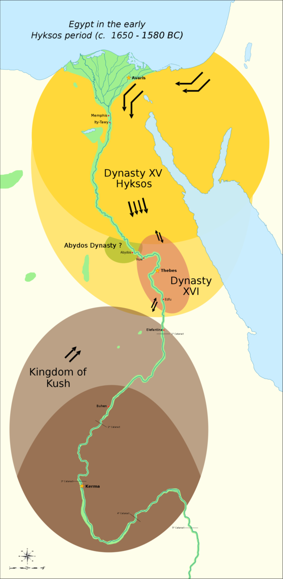 The political situation in Egypt during the existence of the 16th Dynasty from c. 1650 until c. 1590 BC. Thebes was briefly conquered by the Hyksos c. 1580 BC. Egypt Hyksos Period.png