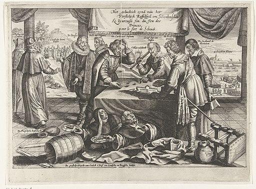 Einde van het spel om Schenckenschans, 1635-1636 Het geluckich eynd van het Vorstelijck Raffelspel om Schenckenschants Le heureusse fin du Jeu des Princes pour le fort de Schenck (titel op object), RP-P-OB-81.397A
