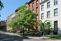 Drie- en vier verdiepingen tellende bakstenen gebouwen in verschillende kleuren gezien vanaf de overkant van een straat.  In het midden van de afbeelding staat een grote boom.