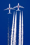 Emirates Boeing 777-300ER and Airbus A380 in flight over Iran.jpg