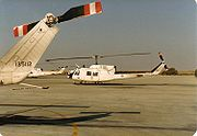 Canadian CH135 Twin Hueys assigned to the Multinational Force and Observers non-UN peacekeeping force, at El Gorah, Sinai, Egypt, 1989.