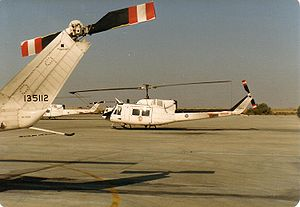 Multinational Force and Observers - Canadian CH135 Twin Hueys on the El Gorah Flight Line 1989