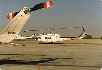 Peacekeeping - Canadian CH135 Twin Hueys assigned to the Multinational Force and Observers non-UN peacekeeping force, at El Gorah, Sinai, Egypt, 1989.