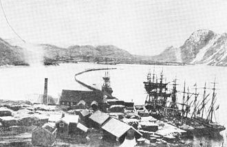 Mosjøen - The English sawmills in 1870. As Mosjøen grew wealthier and wealthier, surrounding forests were depleted